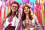 ruc-international culture festival- Girls from the Ukraine don raditional costumes